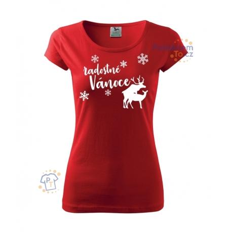 Dámské triko - Radostné Vánoce s jeleny