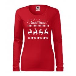 """Dámské tričko - Veselé Vánoce """"svetr se sobem"""""""