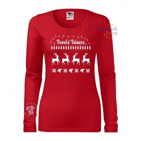 """Dámské triko - Veselé Vánoce """"svetr se sobem"""""""