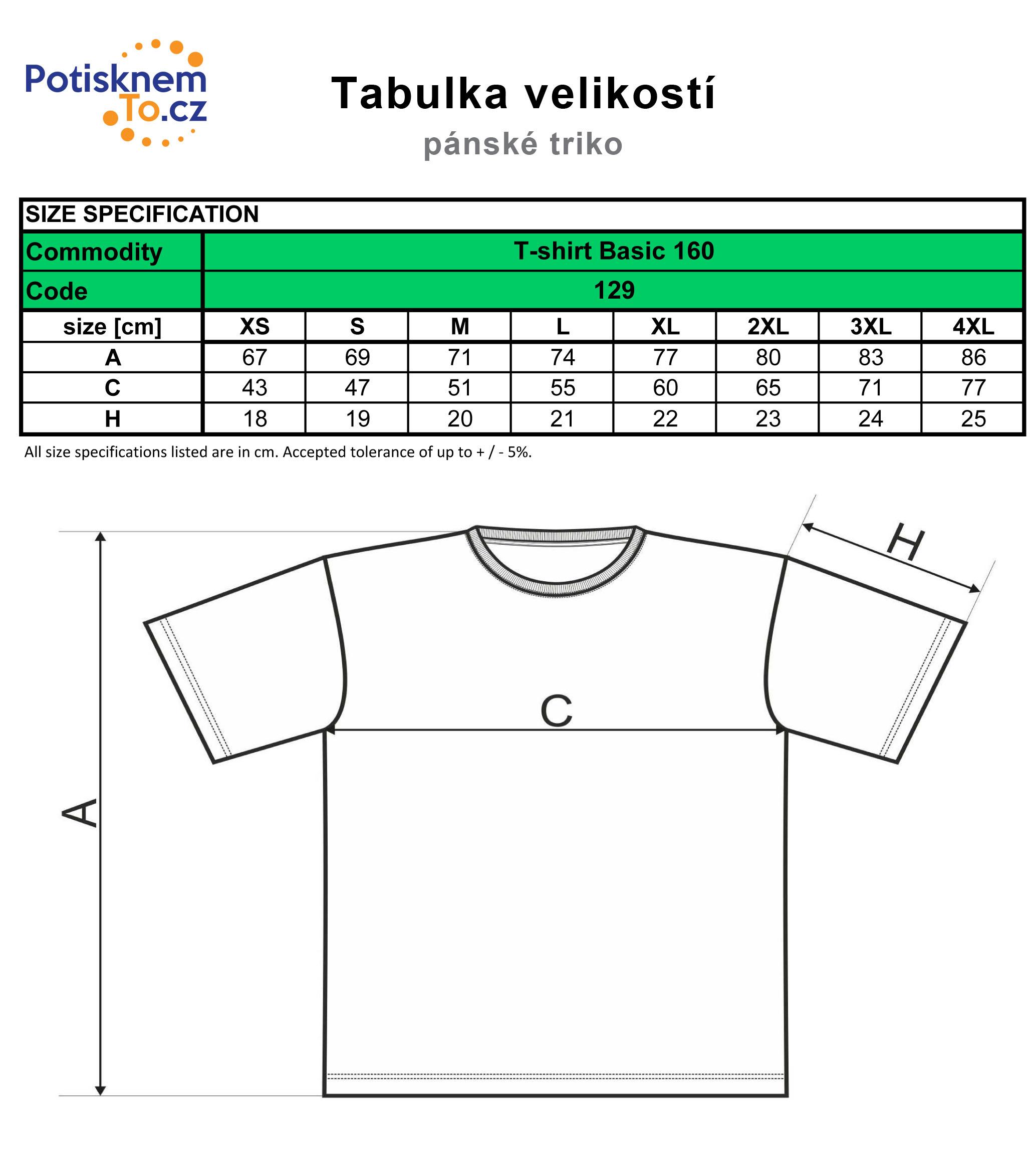Tabulka velikostí - pánská trička Basic