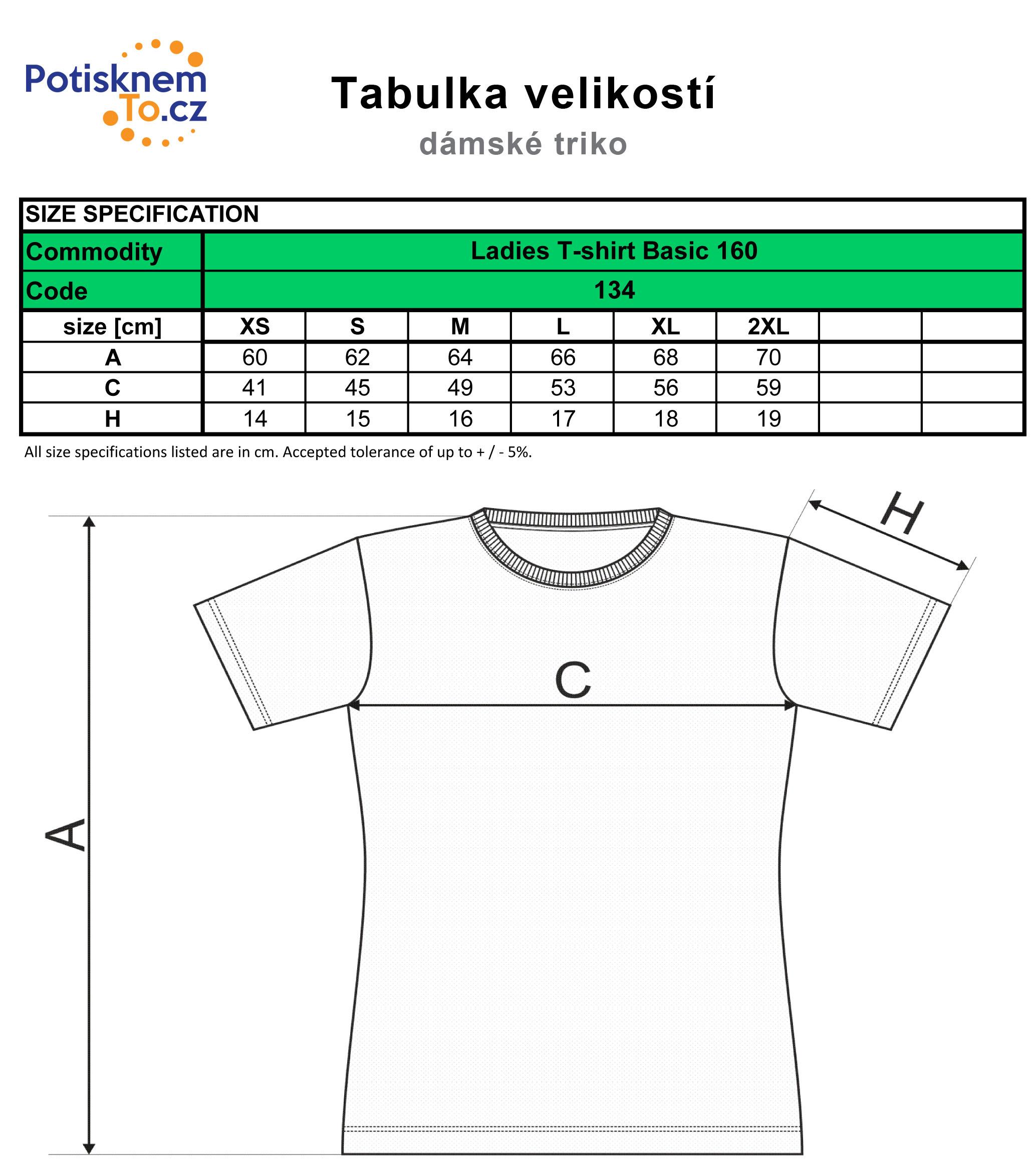 Tabulka velikostí - dámská trička Basic