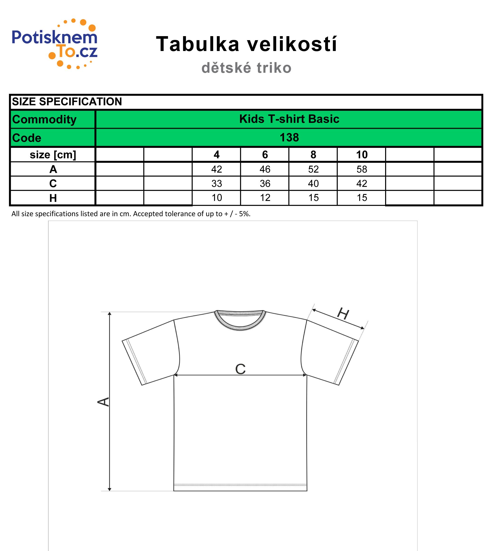 Tabulka velikostí - dětská trička Basic